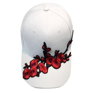 Plum Blossom Applique Cap Women Men Snapback Hip Hop Flat Hat