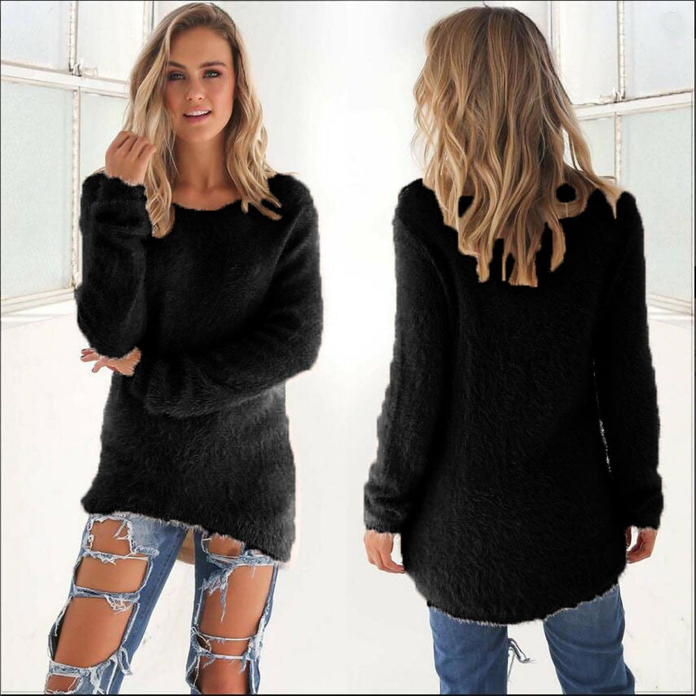 Women Winter Solid Pullovers Sexy  V Neck Knitted Jumper Sweaters Long Sleeve Vintage Casual Office Pull Femme Sweater