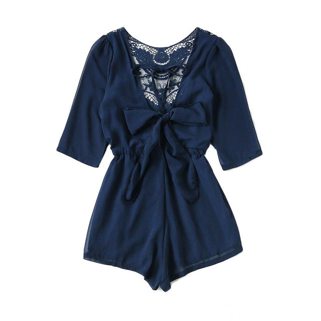 Women's Lace Panel Tie V Back Romper Drawstring Waist Round Neck Playsuits