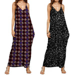 Summer Fashion Print V Neck Sleeveless Maxi Long Maternity Dress