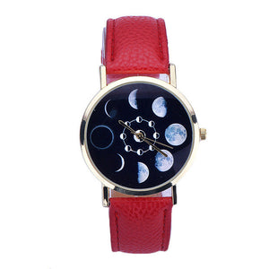 Women's PU Leather Eclipse Pattern Fashion Quartz Wrist Watch