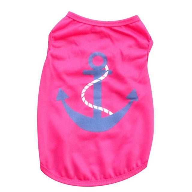 Summer Wear Small Dogs Vest With Achor Design On it