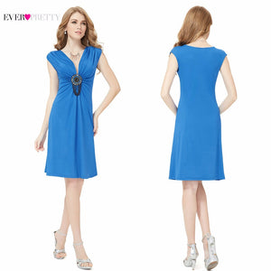 New Fashion Exquisite V-neck Cocktail Dress Ornamental Ruffles Plus Size