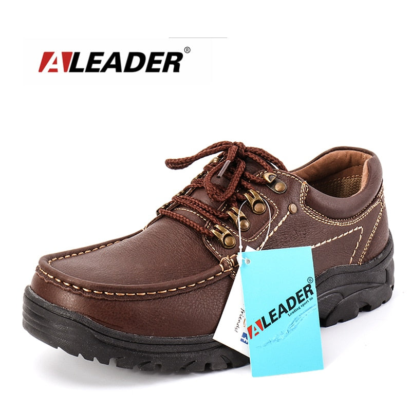 Genuine Leather Men's Shoes  Casual Waterproof Lace-up Oxfords