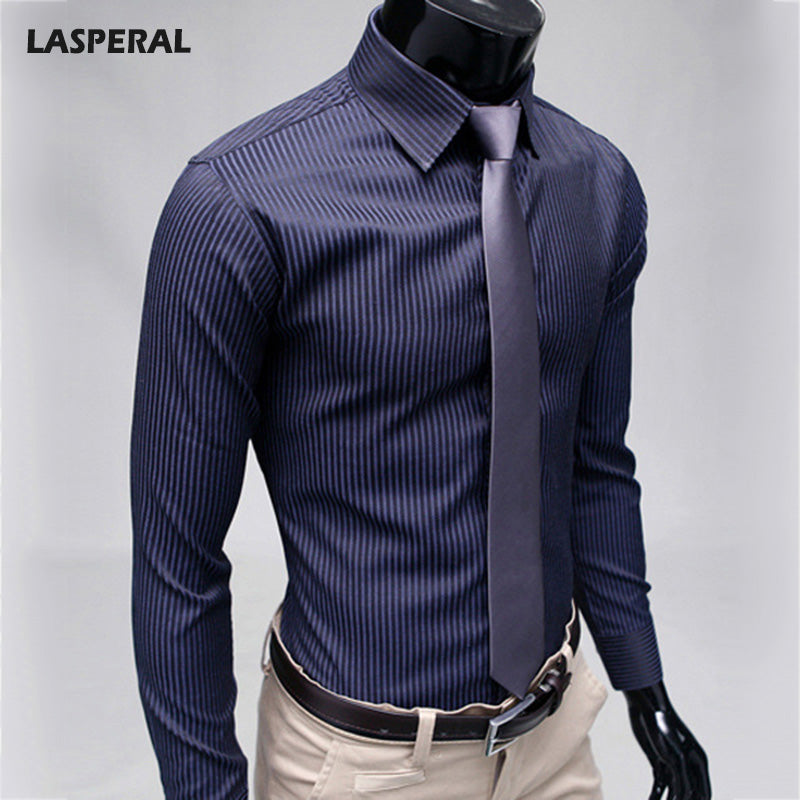 Slim Fit Shirt Men Long Sleeve Business Casual Vertical Stripe Dress Shirts