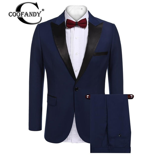Mens Long Sleeve 2-piece Suit Single-breasted Notch-lapel Slim Fit Tux