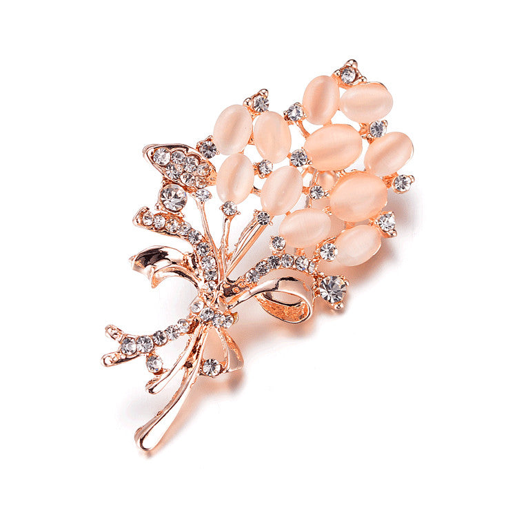 Vintage Brooch Pins Austria Crystal Imitation Pearl Flower Brooch Wedding