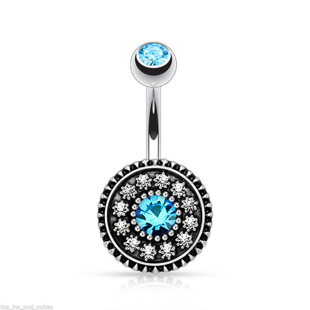 Women Crystal Rhinestone Flower Navel Belly Button Ring Bar Body Piercing