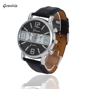 Smilelee Dave Men Quartz Watch With Faux Leather Strap