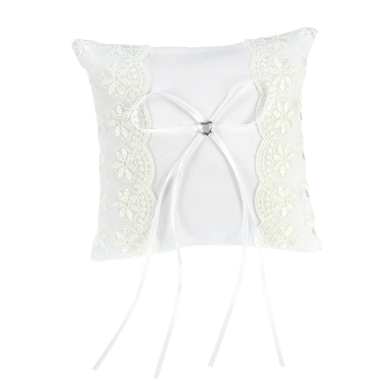 Lac Flower Decorated Bridal Wedding Ceremony Pocket Ring Bearer Pillow with Satin Ribbons
