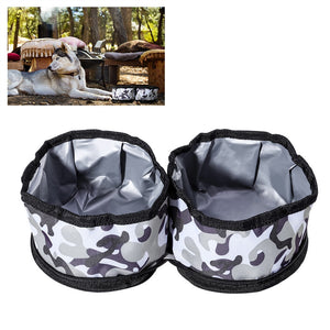 UEETEK Waterproof Collapsible Bowls Double Food and Water Containers for Dogs and Cats