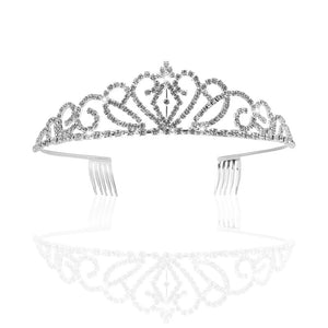 PIXNOR Wedding Bridal Rhinestone Tiara / Crown / Hairband / Hair Loop with Small Comb