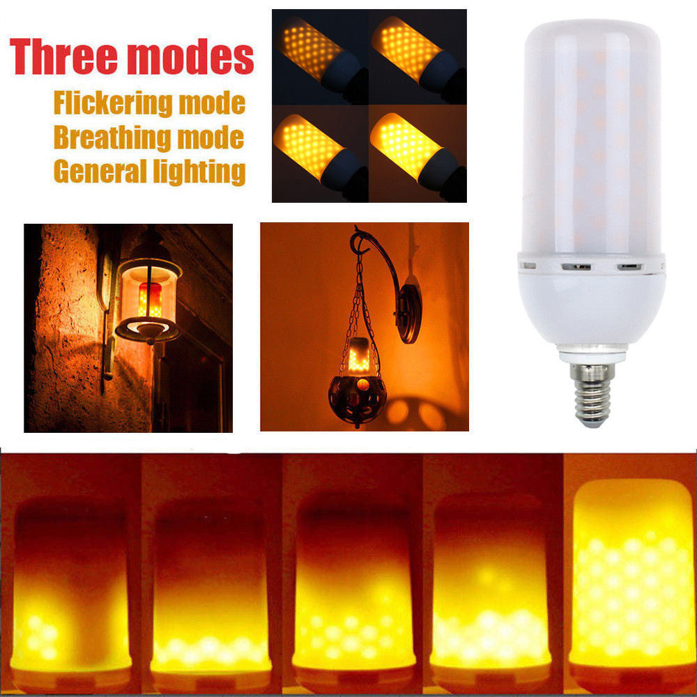 LED E14 5W Flicker Flame Fire Effect Light Bulb Warm White Decor Lamp