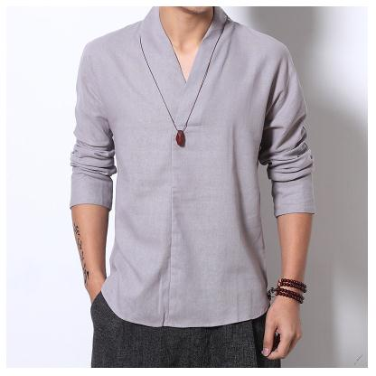 Men's Linen Shirts Long Sleeve Chinese Style Mandarin Collar Traditional Kung Fu