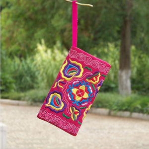 Women Ethnic Handmade Embroidered Wristlet Clutch Bag Vintage Purse Wallet