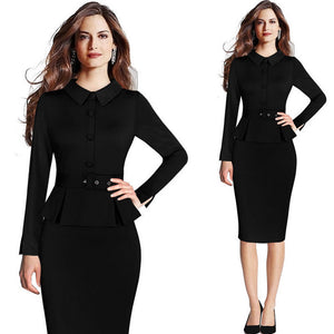 Women Elegant Vintage Peplum Lapel Wear Work Office Formal Pencil Sheath Dress