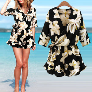 Women Summer Plus Size  Jumpsuit  Rompers Chiffon V-neck Floral Print