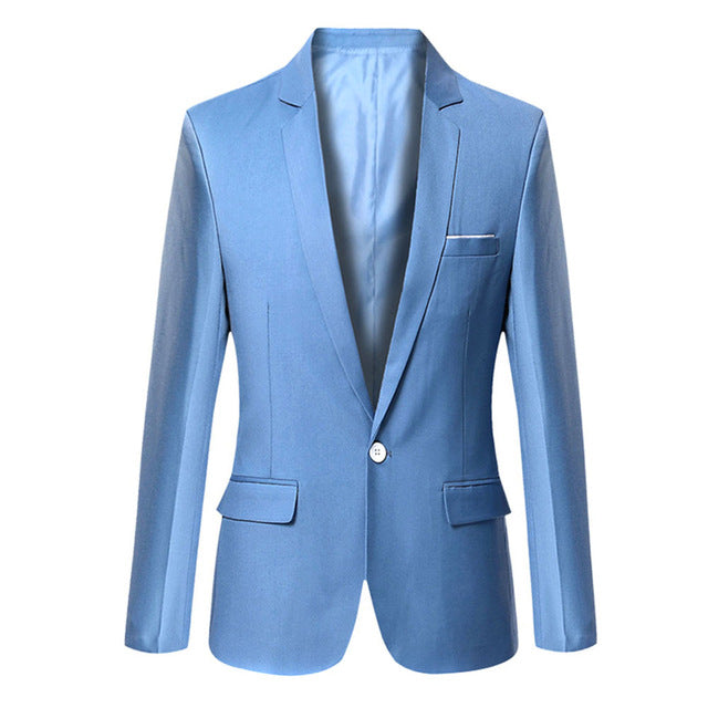 Fashion Men Blazer Solid Color Slim Casual Suit Jacket Office Blazers Plus Size S-6XL