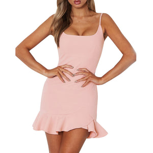 Women Lady Sexy Off Shoulder Sleeveless Mini Dress Ruffle Irregular Dress