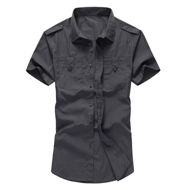 Summer Short-sleeve Breathable Men's Shirts Typical Asian Size M-4XL Turn-down Collar
