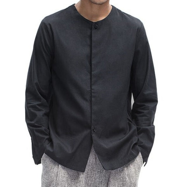 Vintage Men's Shirt Linen Cotton Long Sleeve Ordinary Chinese Traditional Kung Fu Casual Shirt