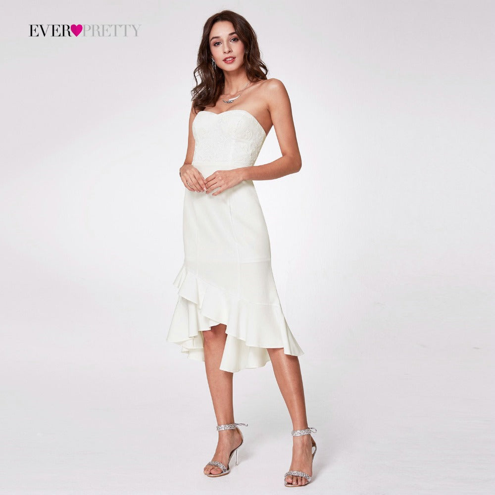 Women's Fashion A-line Strapless Tea-Length Sleeveless Formal Party Dresses