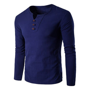 Spring Men's Long Sleeve T-Shirts Stylish V Neck Cotton T Slim Casual Solid Top