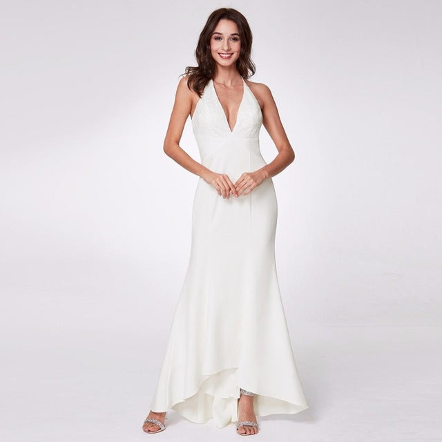 Women's Fashion Simple Backless Spaghetti Strap Long White Party Dresses with Ruffles