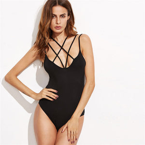 Women Clothing Summer Stretchy Plain Bodysuit
