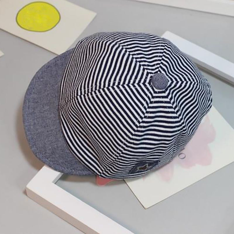 Baby hat baby striped cap newborn cotton childrens hat soft eaves eaves hat
