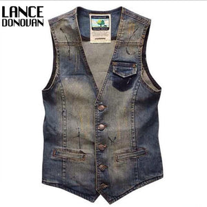 Colete Masculino Mens Single Breasted Men Dress Suit Vest Denim Jeans Waistcoat