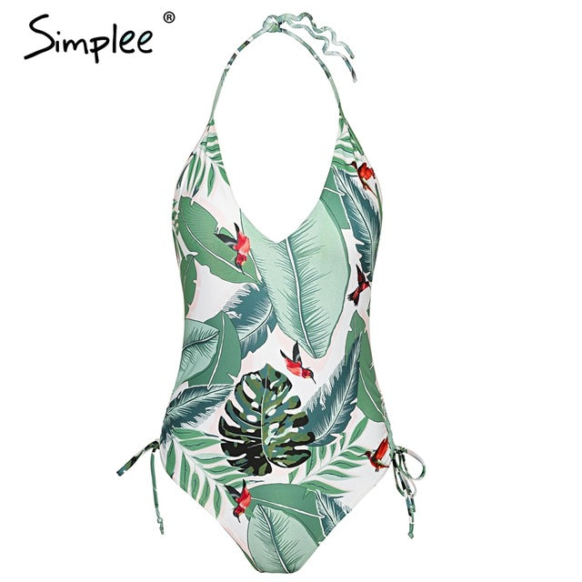 Women's Halter Tropical Print Bodysuit V Neck Drawstring Tie Up