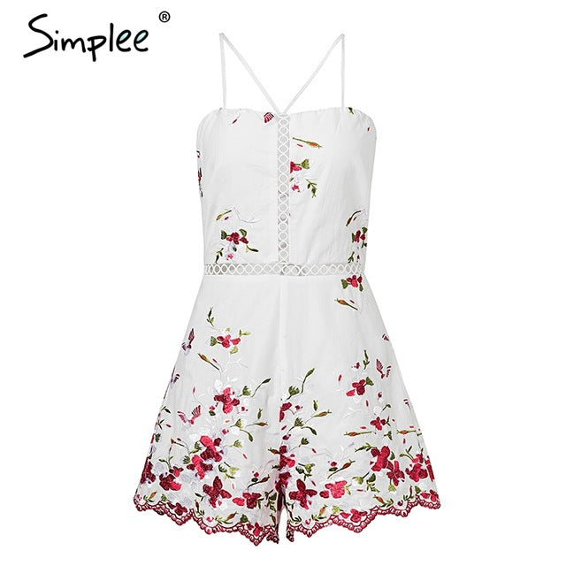 Women Lace up Rompers Strap Backless  Floral Embroidery