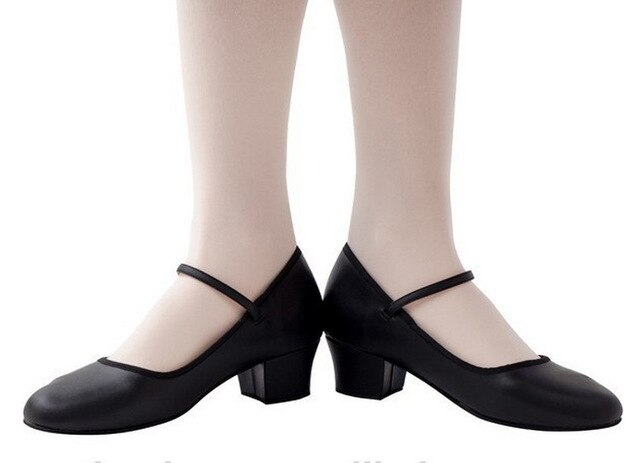 Professional Women Low Heel Ballet Shoes Dance Shose for Teacher Teaching Shoes PU Leather Single Strap Tango Dance Shoes
