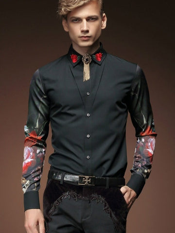 Embroidery Flower Print Shirt-NowFashionTrend.com