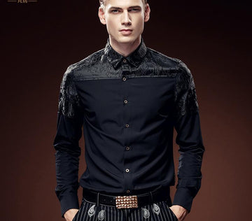 All Black Jacquard Long Sleeved Slim Shirt-NowFashionTrend.com