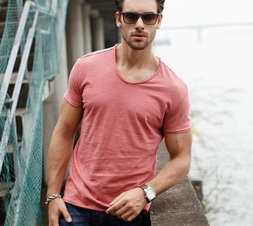 V-neck Slim Fit Pure Cotton T-shirt-NowFashionTrend.com