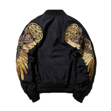 Embroidery Gold Eagle Wings Stand Collar Bomber Jacket-NowFashionTrend.com