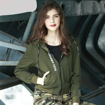 Military Green Jacket Cotton Zipper Hoodie-NowFashionTrend.com