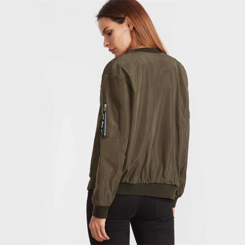 Embroidery Patch Flight Bomber Jacket -NowFashionTrend.com