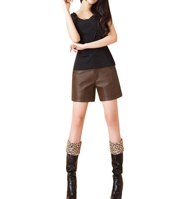 New High Waist Leather Shorts -NowfashionTrend.com