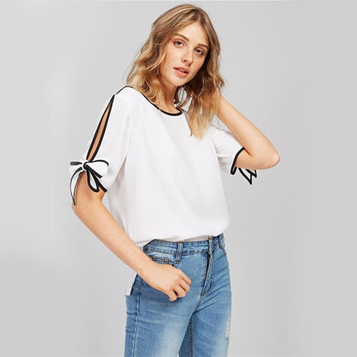 Bow Tie Split Sleeve Blouse-NowFashionTrend.com