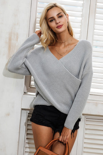 New v neck knitted winter sweater - NowFashionTrend.com