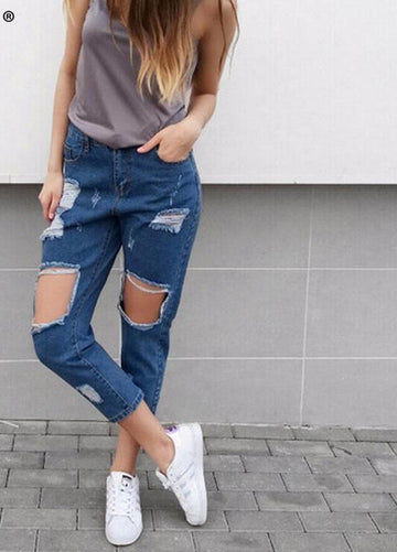 Casual Ripped Denim Jeans -NowFashionTrend.com