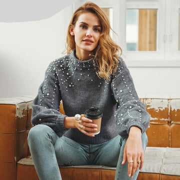 Pearl Turtleneck Knitted Sweater - Loose-NowFashionTrend.com