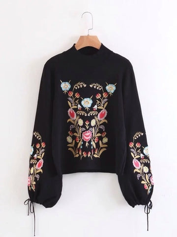 Embroidery Lace Up Knitted Sweater -NowFashionTrend.com