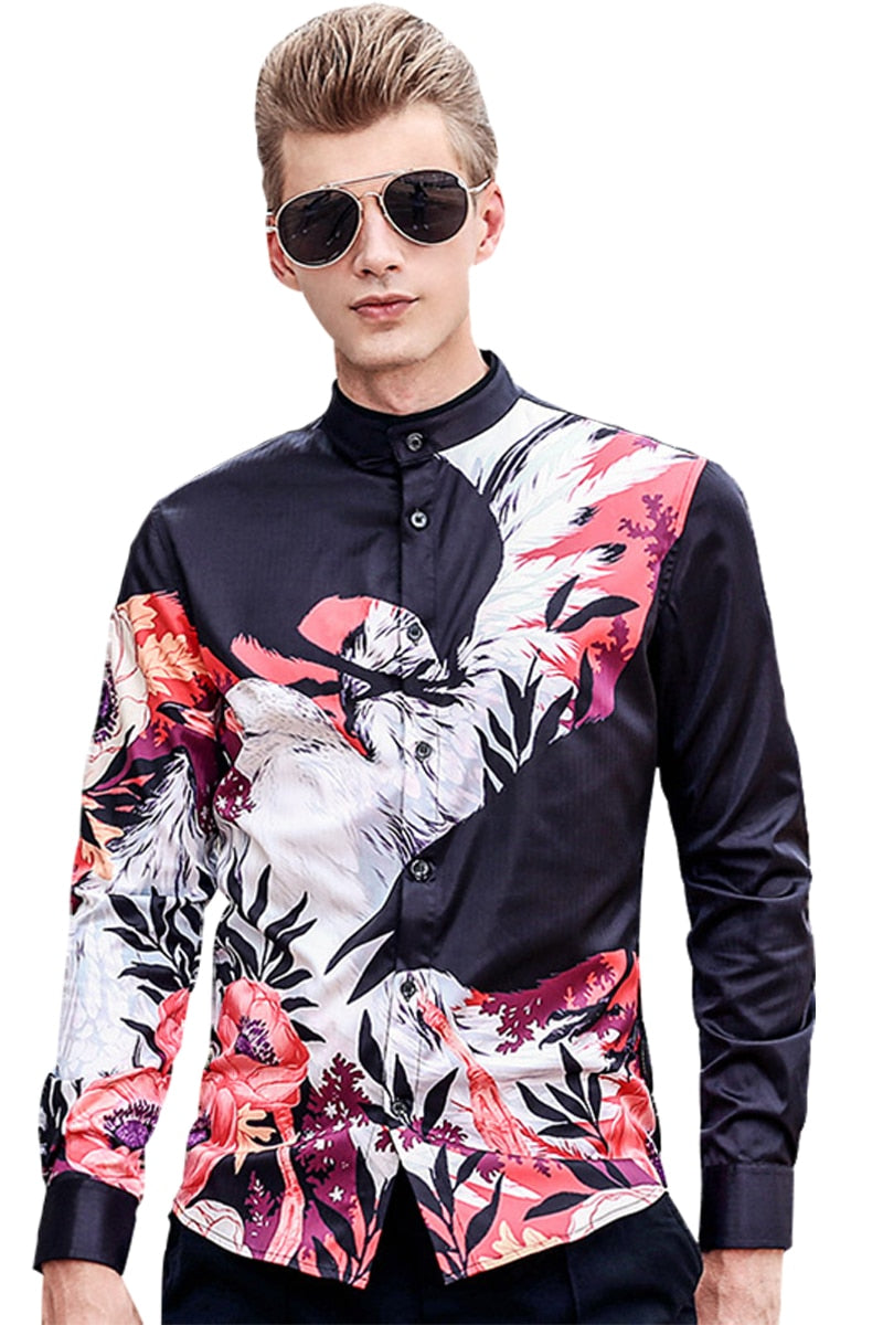 Long Sleeved Animal Pattern Print Shirt-NowFashionTrend.com