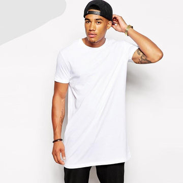 2018 White/Black Casual Long Hip hop T Shirt - NowFashionTrend.com