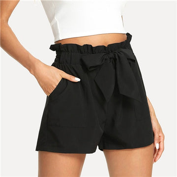 Belted Ruffle Casual Shorts -NowFashionTrend.com