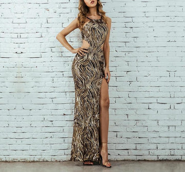 Spaghetti Strap Bodycon Long Dress -NowFashionTrend.com